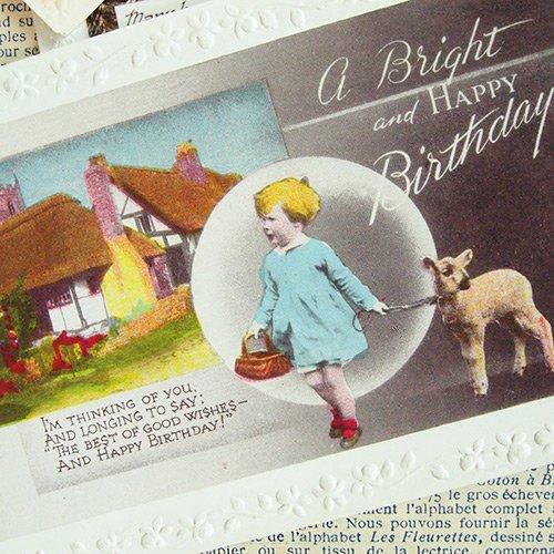 イギリス アンティーク ポストカード3枚セット【Fille et moutons】【画像3】