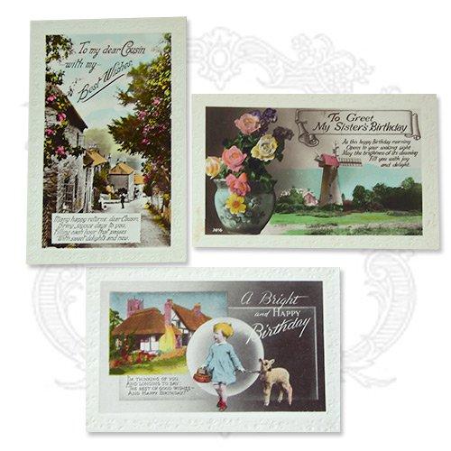 イギリス アンティーク ポストカード3枚セット【Fille et moutons】【画像4】