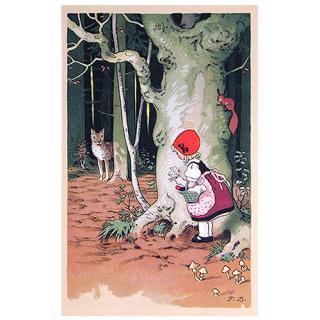 動物 アニマル柄 フランスポストカード (Le Petit Chaperon rouge)