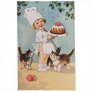 動物 アニマル柄 フランスポストカード (Roses et chats)