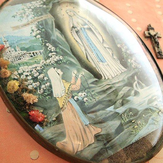 フランス アンティーク 壁掛け フラワーフレーム souvenir【ルルドの泉】【画像2】
