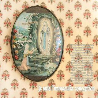 ロザリオ・ルルド・教会もの フランス アンティーク 壁掛け フラワーフレーム souvenir【ルルドの泉】