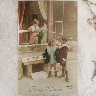 雑貨店でみつけたかわいい文房具 掲載雑貨 おすすめ雑貨 フランス アンティーク ポストカード【bonne annee B】
