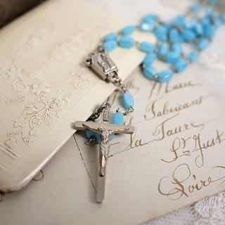 フランス 1950年代 アンティークロザリオ (クロス ペンダント)【ブルー 首周り62cm】