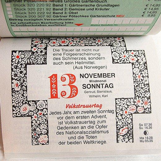 2017 ドイツ RUNNEN (ブルネン)  ガーデニング 日めくりカレンダー
