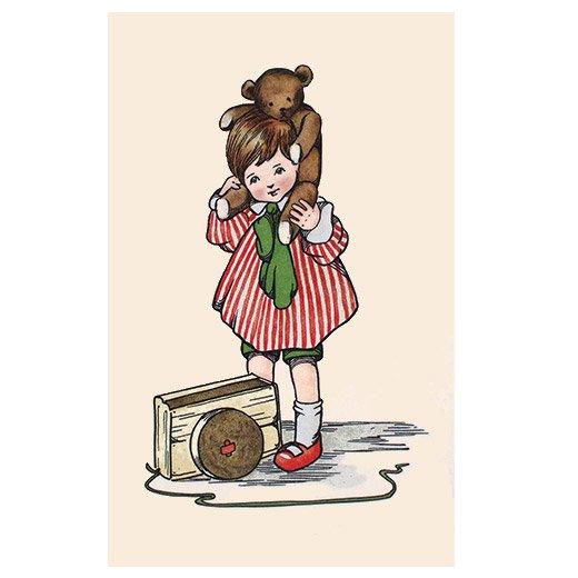 フランスポストカード  ベア 女の子(Jeu de poupee)