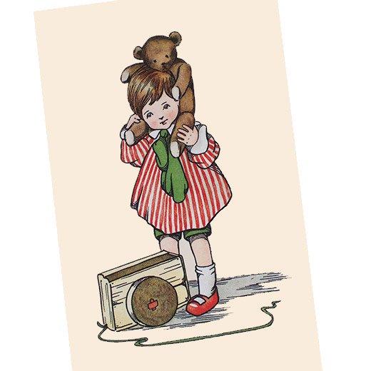 フランスポストカード  ベア 女の子(Jeu de poupee)【画像2】