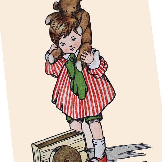 フランスポストカード  ベア 女の子(Jeu de poupee)【画像3】