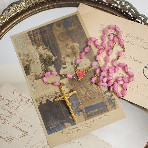 フランス 1950年代 アンティークロザリオ (クロス ペンダント)【ピンク 首周り58cm】【画像2】