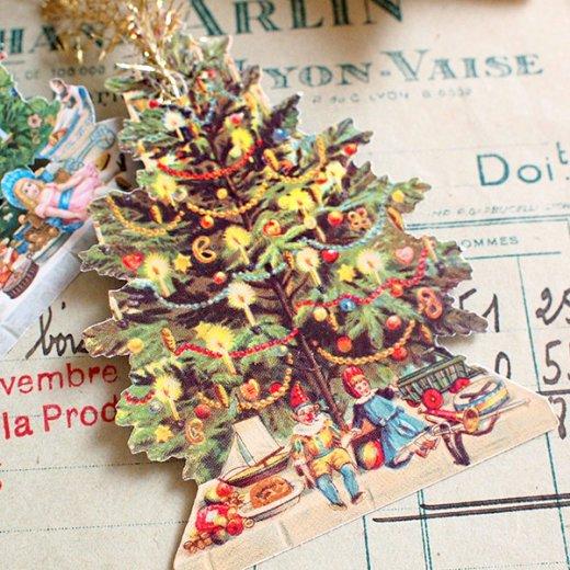 ドイツ クロモス【タグ】<クリスマスツリー6枚セット>【画像2】
