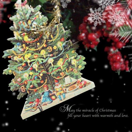 ドイツ クロモス【タグ】<クリスマスツリー6枚セット>【画像9】