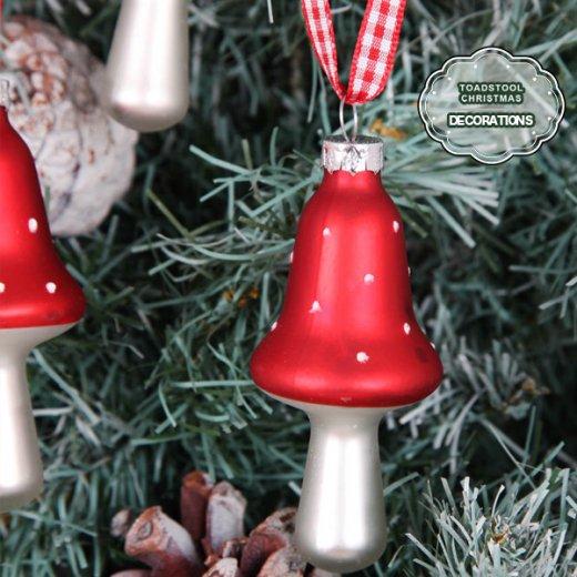 イギリス ギンガムリボン付き キノコの クリスマス オーナメント【6ヶセット】【画像3】