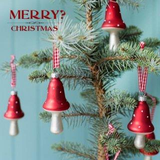 パーティー雑貨 イギリス ギンガムリボン付き キノコの クリスマス オーナメント【6ヶセット】