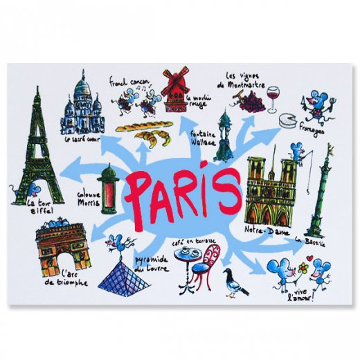 フランスポストカード エッフェル塔 ノートルダム大聖堂 ムーラン・ルージュ 凱旋門 (Paris destination touristique)