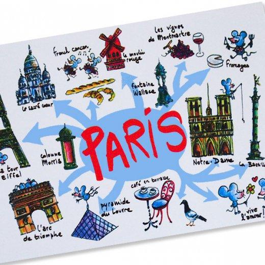 フランスポストカード エッフェル塔 ノートルダム大聖堂 ムーラン・ルージュ 凱旋門 (Paris destination touristique)【画像2】