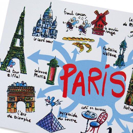 フランスポストカード エッフェル塔 ノートルダム大聖堂 ムーラン・ルージュ 凱旋門 (Paris destination touristique)【画像3】