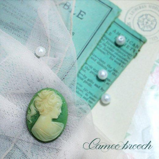 1970's  ロマンティックカメオブローチ【Green】【画像6】