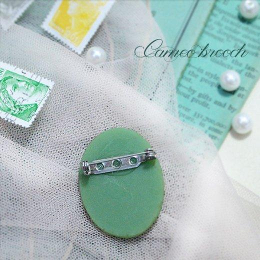 1970's  ロマンティックカメオブローチ【Green】【画像7】