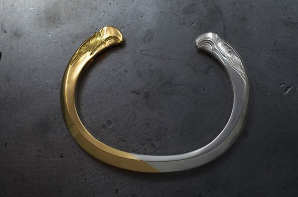eagle face bangle k18 / 925 silver