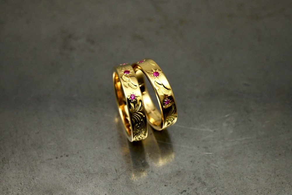 Hand engraved ring / 5mm width, k18 gold