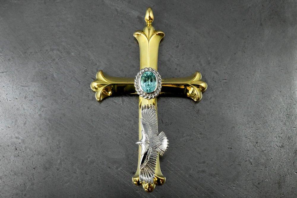 k18 cross・eg05・Paraiba Tourmaline pendant head