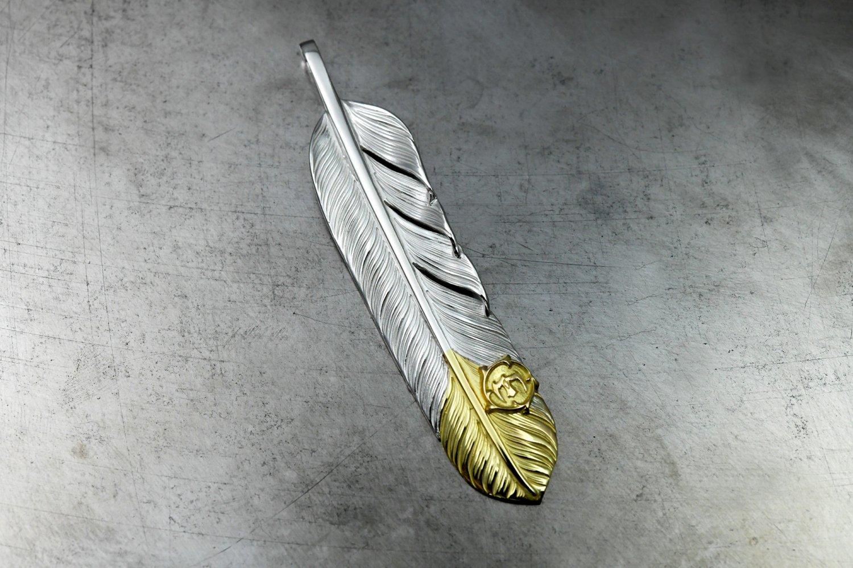 L-feather tip gold / K18 arabesque eagle metal 01