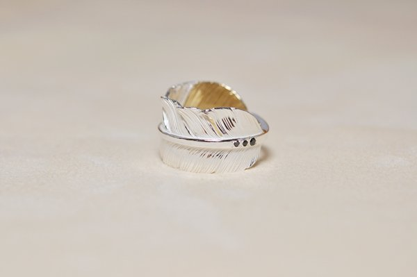 feather Ring/K18Pinkgold top with BlackDiamonds