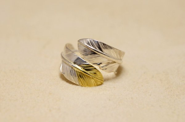 small size feather ring 925/K18 top