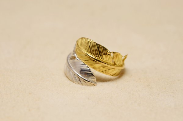 small size feather ring 925/K18