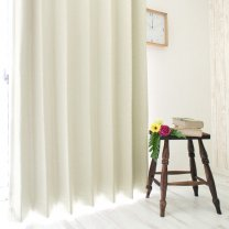 100サイズ 形状記憶・1級遮光のデザインカーテン <ウィーブ アイボリー>