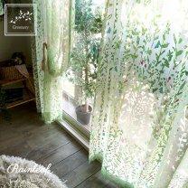 【 greenery -グリーナリー-】オパールプリントで透明感が美しいレースカーテン <レインリーフ グリーン>