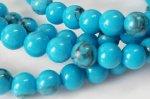 シンセティックターコイズ☆明るいブルーで色が均一☆4mm丸玉ブレスレット