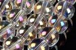 【美しいオーロラメッキ】オーロラクォーツ天然水晶ビーズ連 8mm