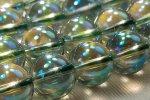 グリーンブルーオーロラ水晶丸玉ビーズ12mm