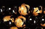 【四神獣彫刻入り】【金箔】【手彫りビーズ】ブラックオニキス四神獣彫刻ビーズ連10mm(玄武)