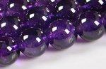 【天然石ビーズ連】【深みのある極上の紫色】【丸玉】高品質アメジスト丸玉ビーズ連8mm