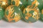 【天然石彫刻ビーズ】アベンチュリン 金箔鍍金 玉持ち龍 12mm