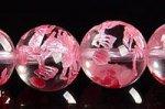 【天然石彫刻ビーズ連】天然水晶 ピンクカラーメッキ 10mm 龍(玉持ち)