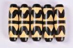 【暖色系天珠】【黒ベースでベージュカラー模様】長さ約38mm(虎の歯天珠)-11