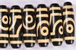 【暖色系天珠】【黒ベースでベージュカラー模様】長さ約38mm(二眼天珠)-13