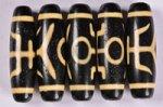 【暖色系天珠】【黒ベースでベージュカラー模様】長さ約38mm(貴人天珠)-14