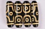 【暖色系天珠】【黒ベースでベージュカラー模様】長さ約38mm(六眼天珠)-15