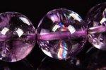【レインボー入り天然石ブレス】☆極上1点もの☆クリアで美しいレインボー入り☆淡いパープルカラー☆ブラジル産アメジストブレスレット約10.5-11mm-28