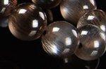 ☆最高級☆黒いベースに金色/シルバー色のシラー☆【天然フェルドスパー】ブラックサンストーンブレスレット約7.5mm-15