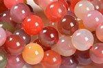 【大人気アイテム】★チェリーのように美しい瑪瑙★ピンク、赤中心☆塩源瑪瑙ブレスレット詰め合わせセット(10本入り)-21