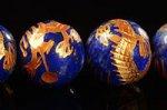 【天然石彫刻ビーズ連】【四神獣】【金箔】【手彫り】★青龍★ラピスラズリ彫刻ビーズ1連約14mm
