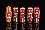 【チベット天珠】★1本200円!★赤天珠★赤瑪瑙ベース★九眼天珠長さ約40mm