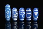 【大人気アイテム】【ブルーアゲートベース天珠】青天珠詰め合わせセット(5個入り)-15