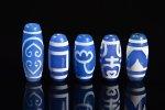 【大人気アイテム】【ブルーアゲートベース天珠】青天珠詰め合わせセット(5個入り)-17