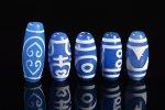 【大人気アイテム】【ブルーアゲートベース天珠】青天珠詰め合わせセット(5個入り)-21